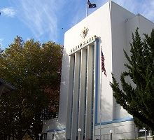 Nevada County Courthouse tall white building with trees
