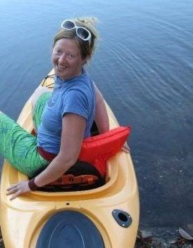 Jen Winders sitting in canoe