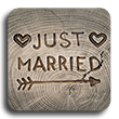Marriage License just married carved into tree stump image