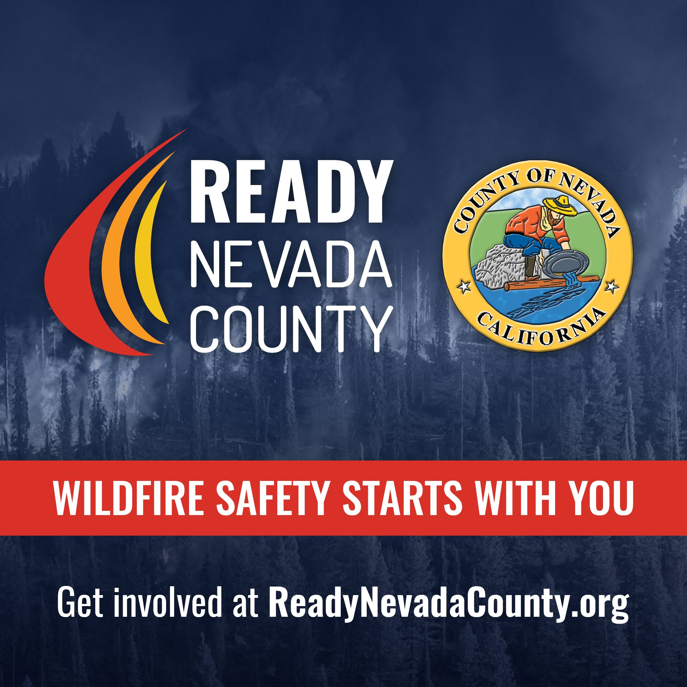 Ready Nevada County Logo, Wildfire Starts with You