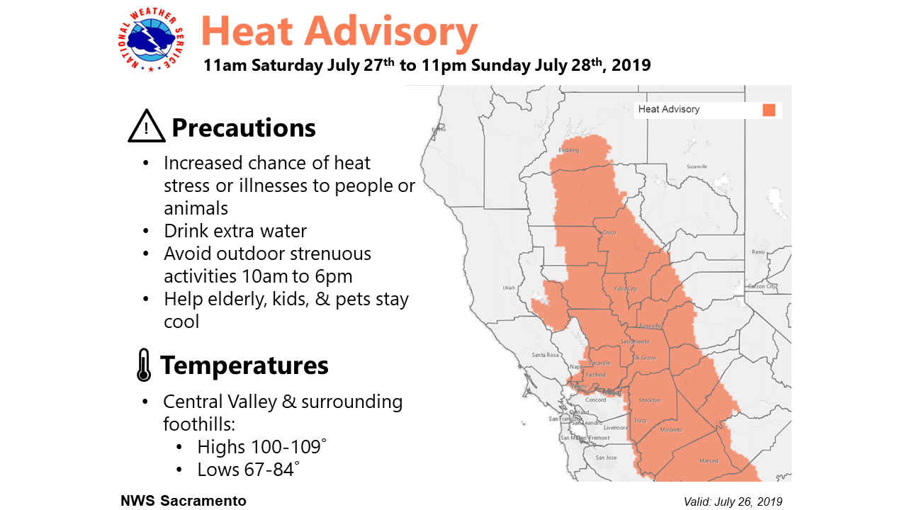 National Weather Services Heat Advisory for Western Nevada County July 27th to July 28th 2019