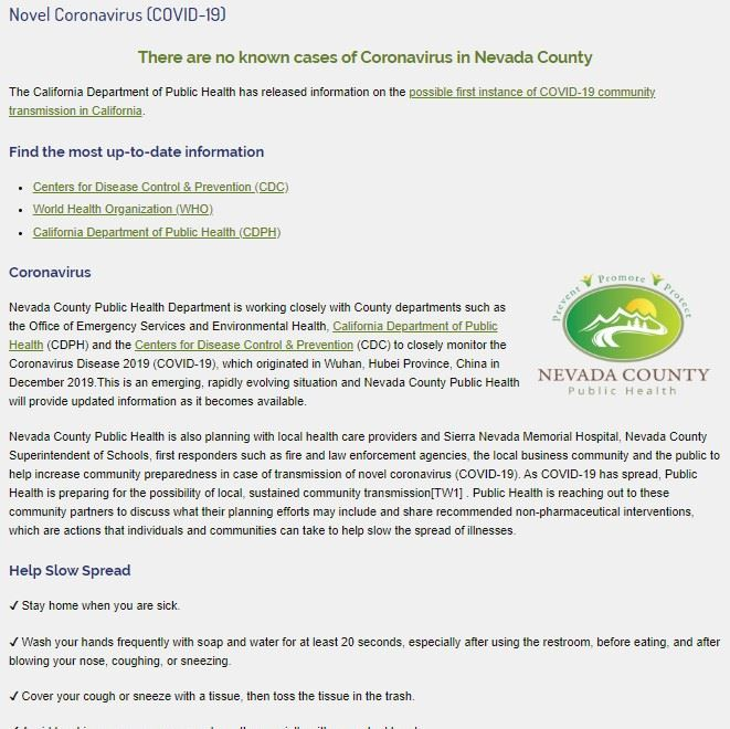 Coronavirus web screenshot NewsFlash