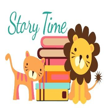 """Story Time"" written over a cartoon image of a cat, a lion, and a stack of books"