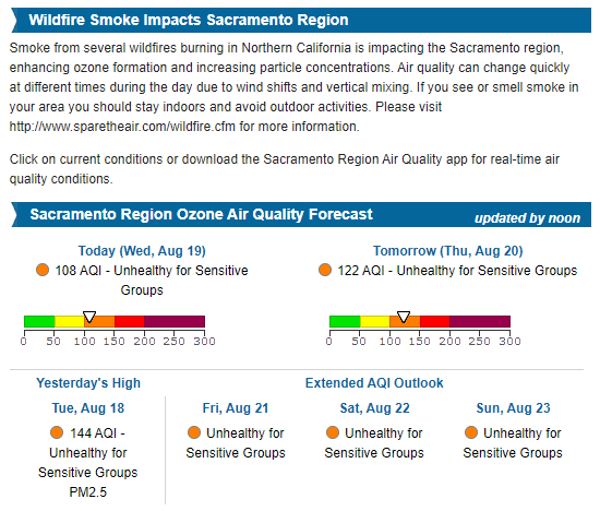Wildfire Smoke Impacts Sacramento Region