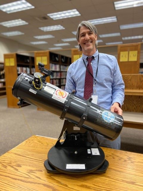 County Librarian Nick Wilczek with an Orion Starblaster 6