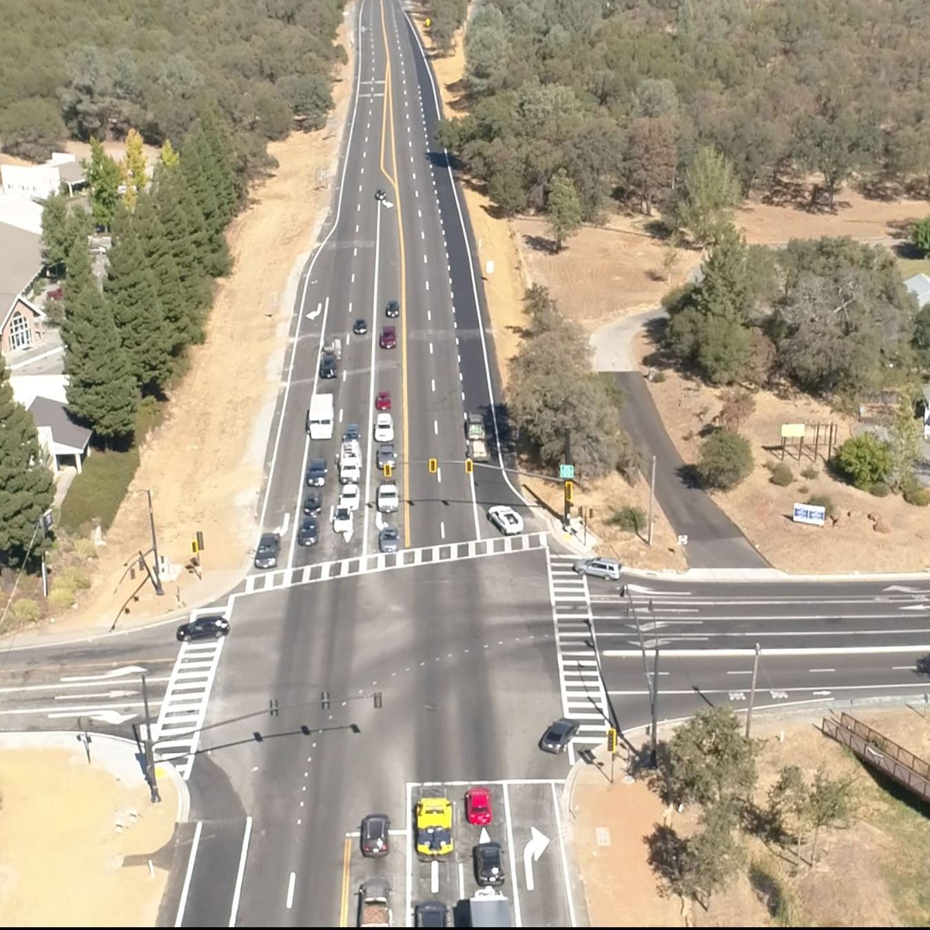 Northbound aerial view of the completed Wolf and Combie acceleration lane project.
