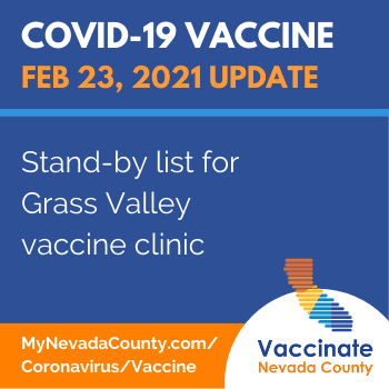 Nevada County Vaccine Update: Stand By List 02 23 2021