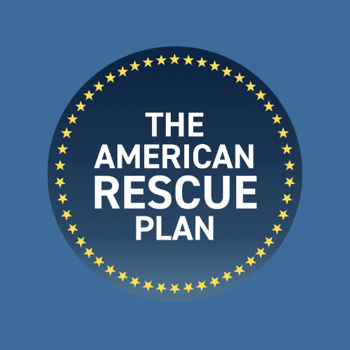 A circle of gold stars on a dark blue background frames the words American Rescue Plan