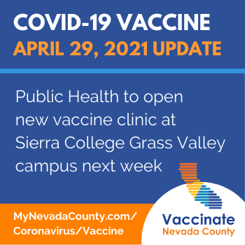 Public Health to Open New Vaccine Clinic at Sierra College Grass Valley Campus Next Week