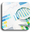Magnifying glass laying on top of colored graphs and chart papers