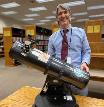 County Librarian, Nick Wilczek with an Orion Starblaster 6
